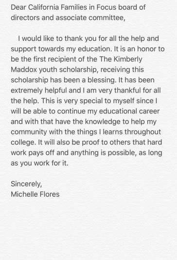michelle's letter