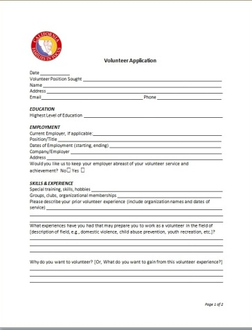 Volunteer application pg1